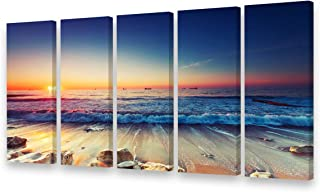 AS40158 5 Panels Framed Wall Art Sunrise Sea Level Canvas Prints Blue Ocean Sea Seaview Pictures Painting Waves Seascape Artwork for Living Room Bedroom Wall Decorations Office Works Home Decoration