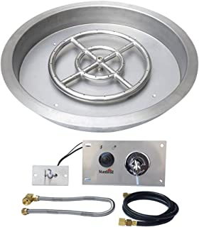 Stanbroil 19 inch Round Drop-In Fire Pit Pan with Spark Ignition Kit Natural Gas Version