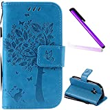 Samsung Galaxy S3 Mini Case Cover EMAXELER Stylish Wallet Case Diamond Embossed Kickstand Credit Cards Slot Cash Pockets PU Leather Flip for Samsung S3 Mini Wish Tree Blue