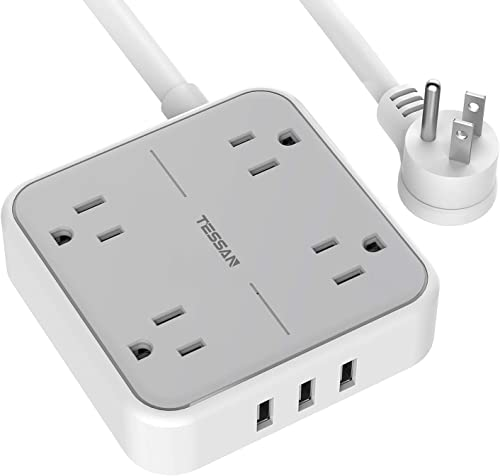Power Strip with USB, TESSAN Mountable Flat Plug Extension Cord with 4 Widely Spaced Outlets, 3 USB Charger, 5 FT Pow...