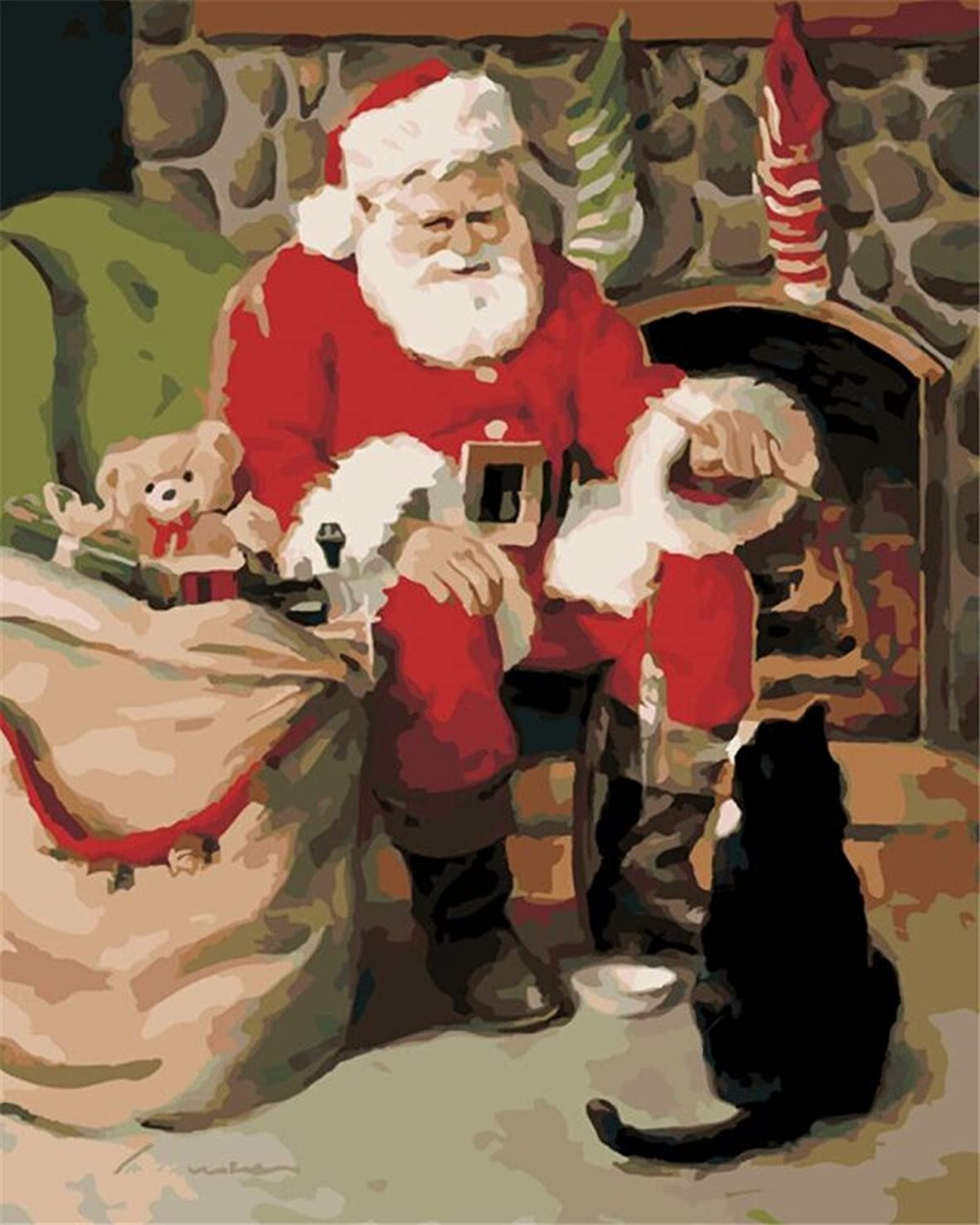 DIY Oil Painting Paint by Number Kit for Kids Adults Beginner 16x20 inch - Santa Claus and Cat, Drawing with Brushes Christmas Decor Decorations Gifts (Frame)