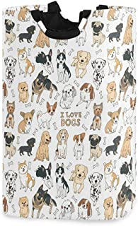 Doodle Dog Pug Corgi Golden Retriever Husky Labrador Dachshund Large Laundry Hamper Bag Collapsible with Handles Waterproo...