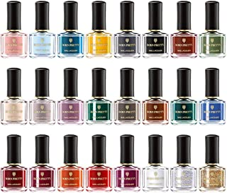 BORN PRETTY Peel Off Nail Polish 45s Dried Non-Toxic Odorless Water-based Nail Glitter Art Varnish for Manicuring DIY Design 24 Bottles Gift Sets