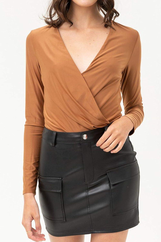 FashionMille Women Long Sleeve Sexy Wrap V-Neck Top Leotard Bodysuit Jumpsuit