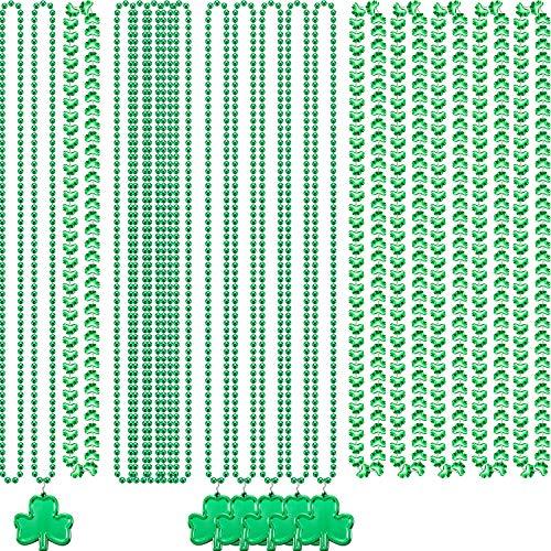 Hicarer 3 Stil St. Patrick Tag Grüne Perlen Halsketten Shamrock Irish Clover Halsketten Green Party Perlen Halsketten für St. Patrick's Day Dekoration Party Favors Urlaub Perlen Kostüm (18 Stücke)
