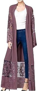 Mfacisa Womens Patchwork Frente Abierto mantos Bordados Malla Cardigan Top