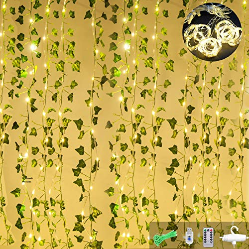 ANGMLN 12 Pack 90Ft Artificial Ivy Garland with 12 Strands 240 LEDs Curtain Lights Hanging Vines Plant Green Leaves for Home Kitchen Bedroom Wall Garden Fence Pergola Deck Balcony Wedding Event Decor