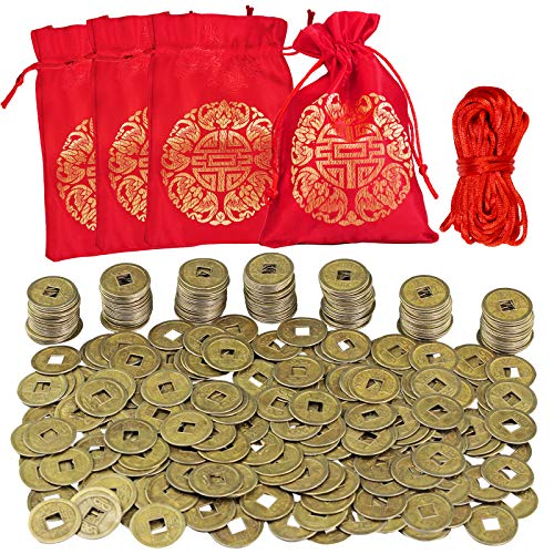 Supla 300 Pcs Chinese Coins Feng Shui Coins Good Fortune Coins Good Luck Coins and Lucky Bag for Chinese New Year Health Wealth Bracelet Charms 2021 Year of The Ox Decorations