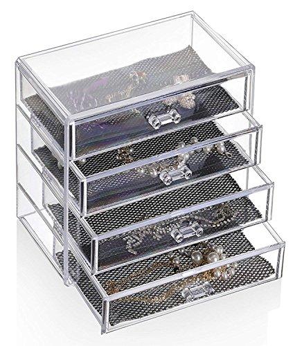 Feibrand - Organizador Maquillaje, Caja Cosméticos, Transparente, 4 Cajones
