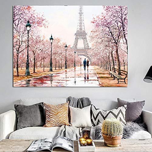 ZZXLX Pintura al óleo Abstracta Pareja Torre Eiffel Paisaje de la Ciudad Cartel de la Lona Impresión de la Pared para la decoración de la Sala de estar-60x80cmx1 Piezas sin Marco
