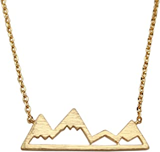 Dainty Mountain Necklace for Women Mountain Range Pendant 17″ Chain - Multiple Colors (Silver)