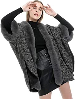 Warm TV Shawl Winter Coat Sweater Cape Imitation Cashmere Poncho for Women Lightweight Blanket Cozy Wrap Shawl with Open Front Shawl Wrap Cape Sweater Knitting Cardigan (Color : Grey)