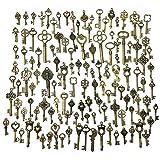 Clés Squelette en Bronze Antique Clé Vintage Bronze Antique Breloques Squelette Clé Convient pour Anniversaire, Anniversaire Mariage Fête de Noël Ou Décoration de Chambre 125 Pièces