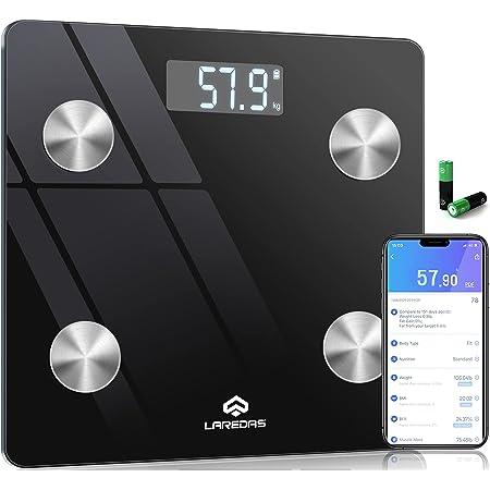 Laredas 体重計 体組成計 体脂肪計 Bluetooth 23種類の健康項目が測定可能 スマホ連動 ボディタイプ/栄養状態/体重/BMI/体脂肪率/マッスル重量/内臓脂肪/水分/骨格筋率/骨質量/基本代謝/脂肪重量/水分重量/タンパク質重量/理想体重/など iOS/Android対応 アプリで健康管理