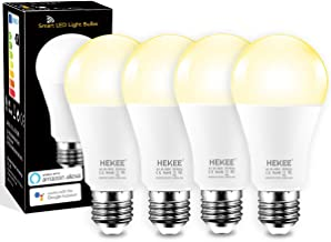 Smart LED Light Bulb, 85W Equivalent HEKEE WiFi Work with Alexa, Echo, Google Home Assistant 12W Dimmable Warm White 2700K A19 E26 (4 Pack)