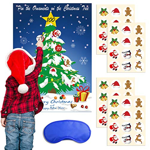 TUPARKA Christmas Party Games Pin Ornaments on The Tree, Blue Eye Mask Christmas Pin Game Christmas Family Game for kids