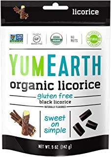 YumEarth Organic Gluten Free Licorice, Black Licorice, 5 Ounce, 6 pack