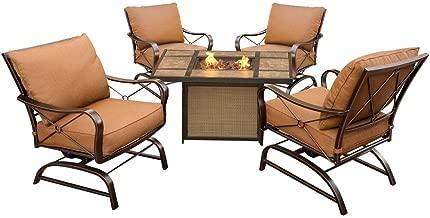 Cambridge BDFRD5PCFP-TLE 5 Piece Bradford Conversation Set with Tile-Top Fire Pit Table Outdoor Furniture, Tan