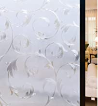 Rabbitgoo Privacy Decorative Window Film, Non-Adhesive Static Cling 3D Glass Film, Removable Window Sticker UV Protection for Home Bathroom Privacy & Security, Flower Pattern, 35.4 x 78.7inches
