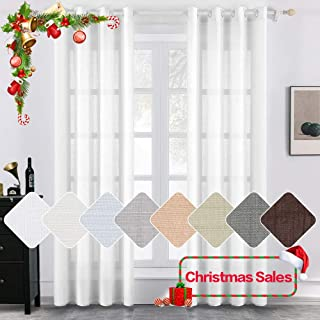 MIULEE 2 Panels Natural Linen Semi Sheer Window Curtains Elegant Solid White Drapes for Christmas Grommet Top Window Voile Panels Linen Textured Panels for Bedroom Living Room (52X84 Inch)