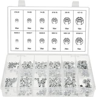 Swordfish 30450 - Stainless Steel Nylon Insert Lock Nut Assortment, SAE & Metric, [12 sizes], 300 pieces
