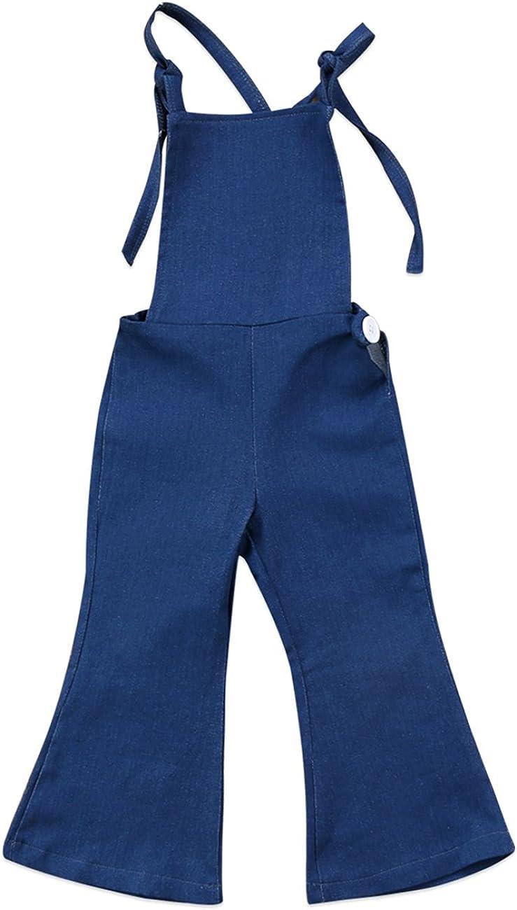 Baby Girls Little Kids Suspender Overall Flared Denim Jeans Jumpsuit Bell Elastic Blue Pants