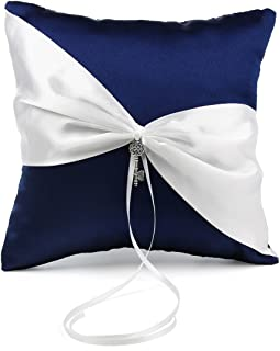 OnePlace Gifts Exclusive Navy Blue Satin Charms Wedding Ring Pillow Bearer 7.8