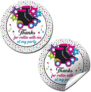 Let's Roll Star Roller Skating Themed Thank You Sticker Labels for Kids, 40 2