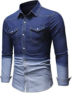 Tralounry Mens Buttoned Regular Fit Gradient Ramp Relaxed Basic Cotton Shirts