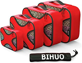 4 Set Packing Cubes - Travel Luggage Organizers with Laundry Bags Travel Accessories (Red)
