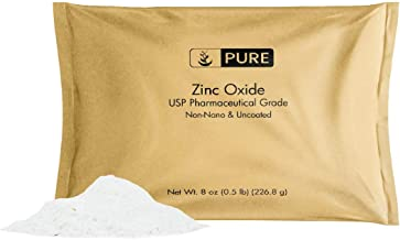 Zinc Oxide Powder (8 oz.) by Pure Ingredients, Eco-Friendly Packaging, Non-Nano, Uncoated, USP Grade, For Sunscreen, Diape...