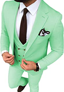 Aesido Men's Suits Slim Fit 3 Pieces Casual Prom Tuxedos Double Breasted Classic Design Wedding(Blazer+Vest+Pants)
