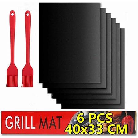 BBQ grill mat Antiadhésif,Tapis de Cuisson Barbecue,6 PcsTapis Barbecue Set-40x33cm,feuille de cuisson reutilisable,feuille teflon,pour Barbecue à Gaz, Électriques et Charbon (40x33cm)