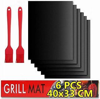 BBQ grill mat Antiadhésif,Tapis de Cuisson Barbecue,6 PcsTapis Barbecue Set-40x33cm,feuille de cuisson reutilisable,feuill...