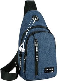 حقيبة كتف بحزام كروس للرجال من Suyzufly حقيبة ظهر صغيرة للصدر للسفر والمشي لمسافات طويلة وركوب الدراجات