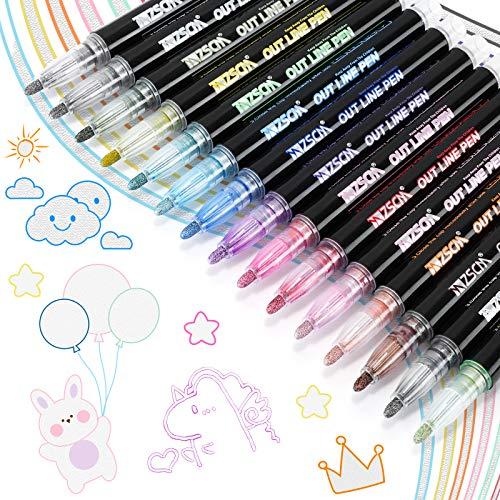 RATEL Doppelte Linie Stift, 15 Farben Acrylstifte, Outline Stift Double Line Marker Glitzerstifte fur Kartenschreiben / Geburtstagsgrupkarte / Sammelalbum / Malen / DIY Kunsthandwerk
