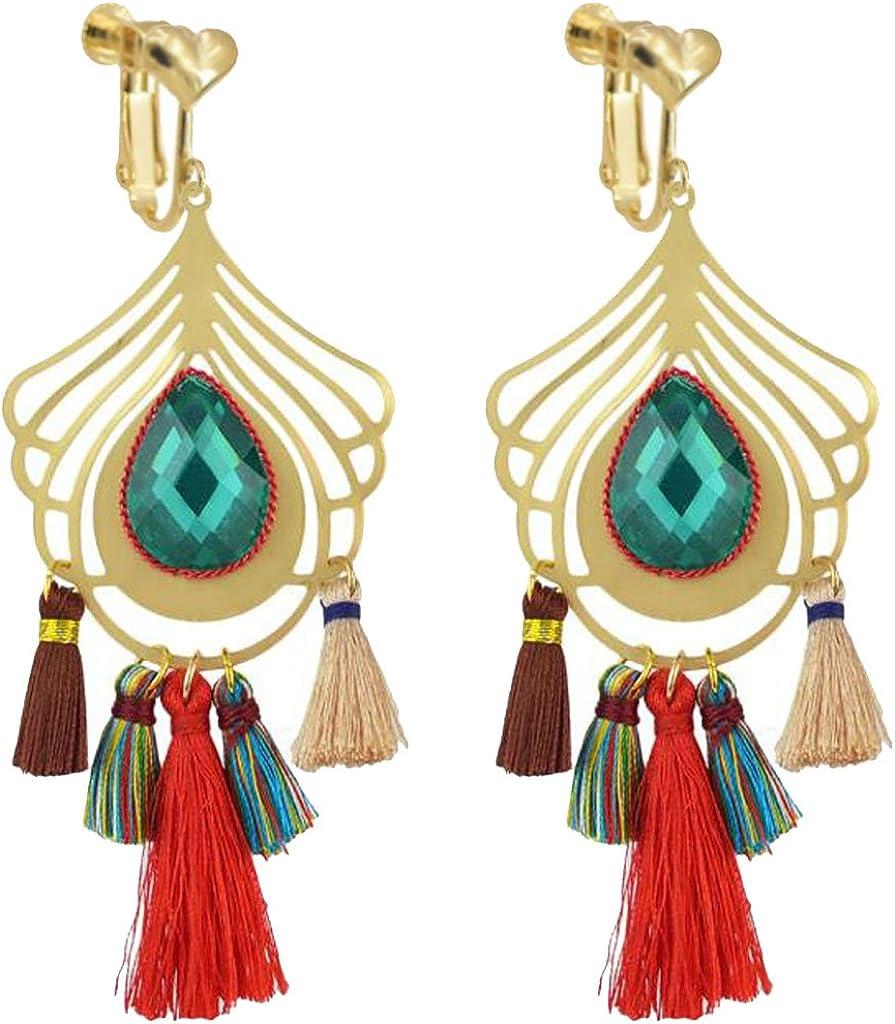 Clip on Earrings Long Thread Tassel Peacock Feather Fringe Green Crystal Prom Earrings for Girls Women