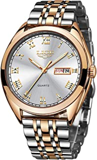 Men's Watch Fashion Waterproof Stainless Steel Analog Quartz Watches Men's Luxury Brand LIGE All Steel Casual Sports Date Calendar Gold Blue Watch