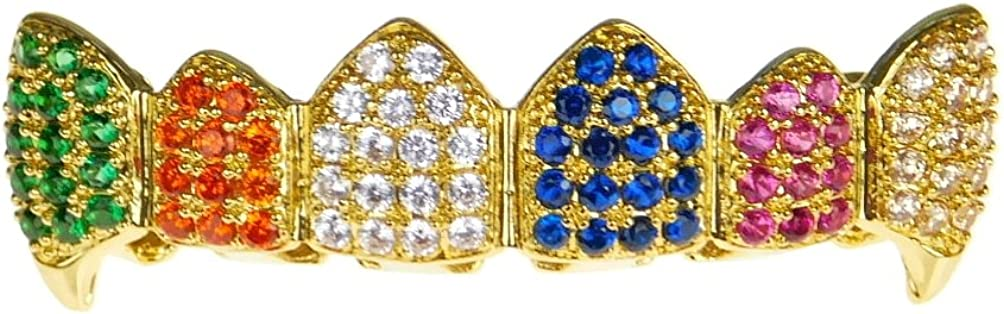 18K Gold Plated Fang Grillz Multi-Color Clown CZ Bling Cubic Zirconia Top Teeth Hip Hop Rainbow Grills