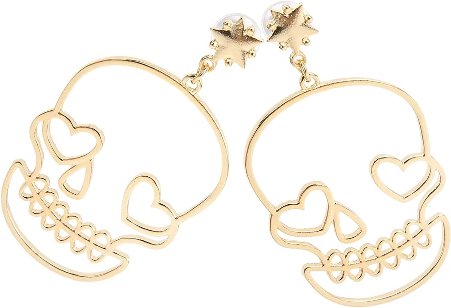 Earrings, Alloy Materials Not Easy to Corrode Personalized Design Decorative Earrings Ear Decorations for Holiday Parties Dance Parties Concerts(Gold)