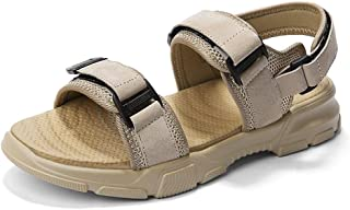 Aomoto Sandals for Men Outdoor Leisure Shoes Slip On Style Pigskin and Mesh Material Hook&Loop Strap Fashion Buckles PU Outsole