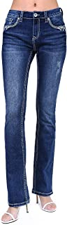 Grace in LA Charme Label Women's Stitched Embellished Easy Bootcut Jeans | CEB-61315