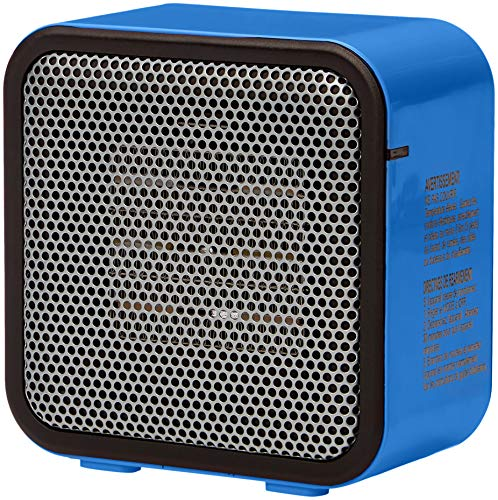 AmazonBasics 500-Watt Ceramic Small Space Personal Mini Heater - Blue