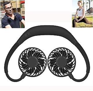 JCT Ventilador de Cuello Colgante Ventilador USB Portátil Batería Recargable Portatile Mini Manos Libres Ventilador Neck Fan de 360 ° para Deportes, con LED de Colores, para Viajes de Oficina (Negro)