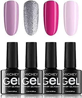 Soak Off Gel Polish Set, MIYOUNE 4 Colour Glitter Gel Nail Polish Pink UV LED Varnish Kit