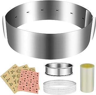 K KUMEED Cercle a Patisserie Reglable Set Cercle à Gâteaux Réglable avec Echelle 16-30cm Rhodoid Patisserie 8cm Extensible...