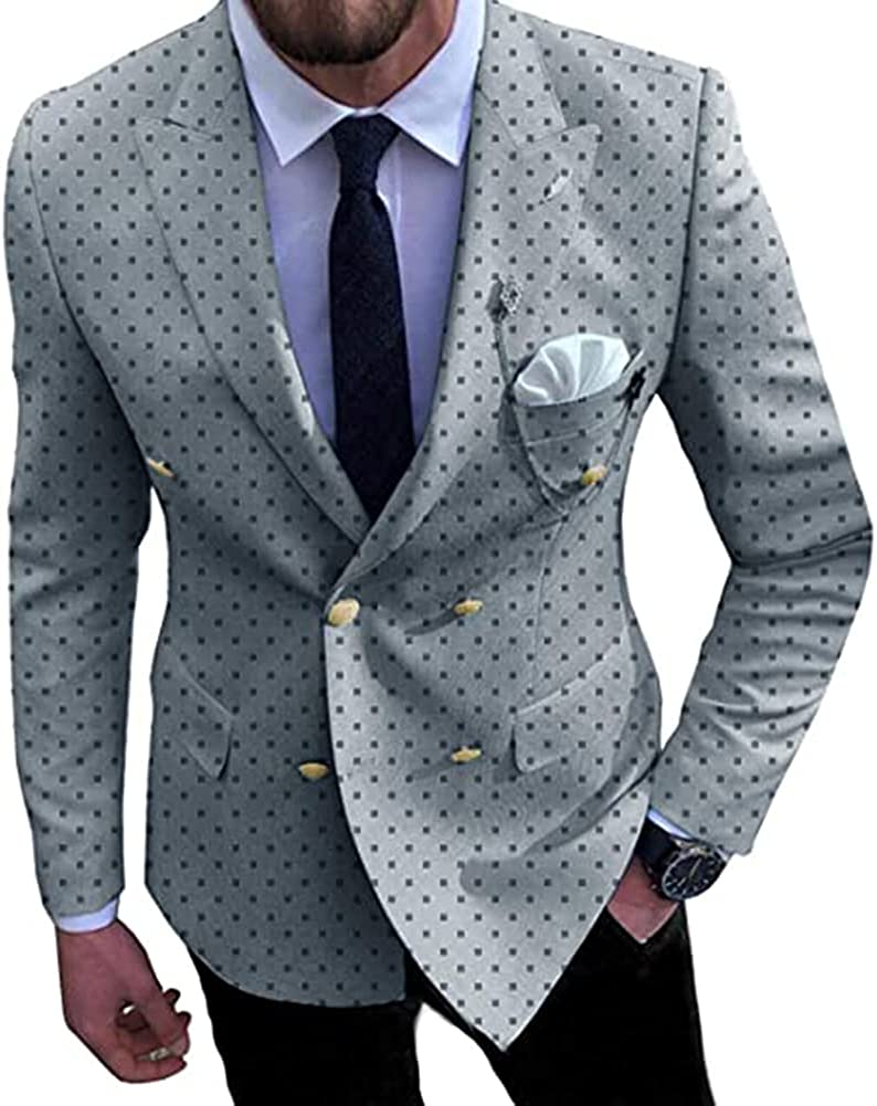 TOPG Men's 2 Pieces Fashion Dotted Business Suit Slim Fit Double Breasted Tuxedos for Wedding Groomsmen