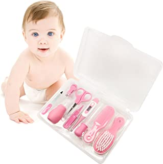 Baby Newborn Health Care Grooming Kit Convenience Nail Clipper File Scissors Tweezers Nasal Aspirator Dropper Feeding Digital Thermometer Comb Hair Scrubber (Pink, 9 pcs)