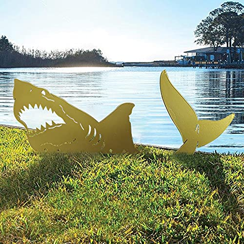 YUWEX Metall Rost Gartenstecker Hai Gartendeko Figuren Ozean Meer Ornamente Silhouette Skulptur Deko für Garten Terrasse Balkon Blumentopf