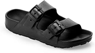 Women's Comfort Footbed Sandals, Lightweight and Waterproof, EVA Adjustable Double Buckle Slip-on Flat Slides with Arch Support